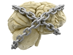 human brain and lock (clipping path included)