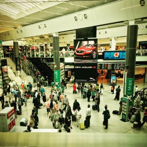 Gatwick South Terminal, busy people, off to different parts of the world, all with their own agenda.
